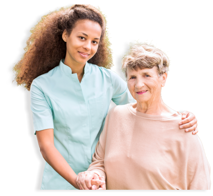 elderly and caregiver smiling